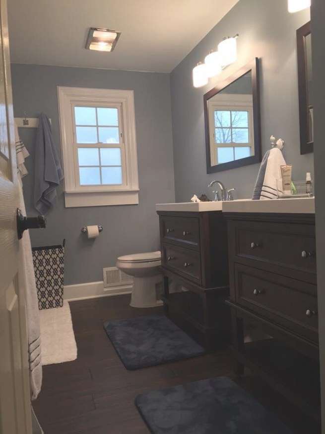 Love These Blue Gray Walls. Paint Color: Wall Ovation with regard to Eggshell Paint For Bathroom