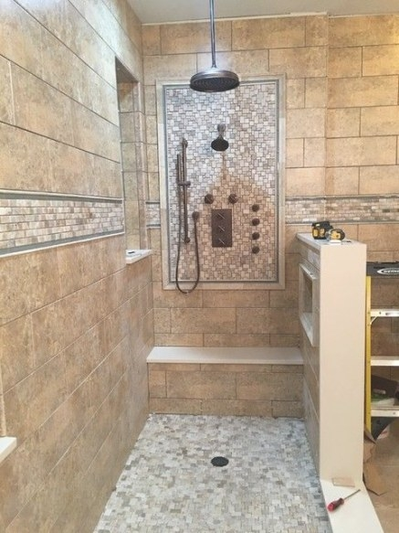 Loving This Focal Point Design With The Warm Brown Tone In in Brown And Beige Pinwheel Mosaic Tile Bathroom