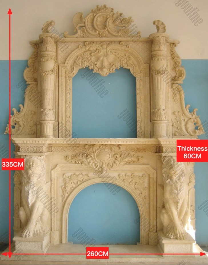 Luxurious Yellow Ornate Marble Lion Overmantel Fireplace intended for Fireplace Mantels For Sale