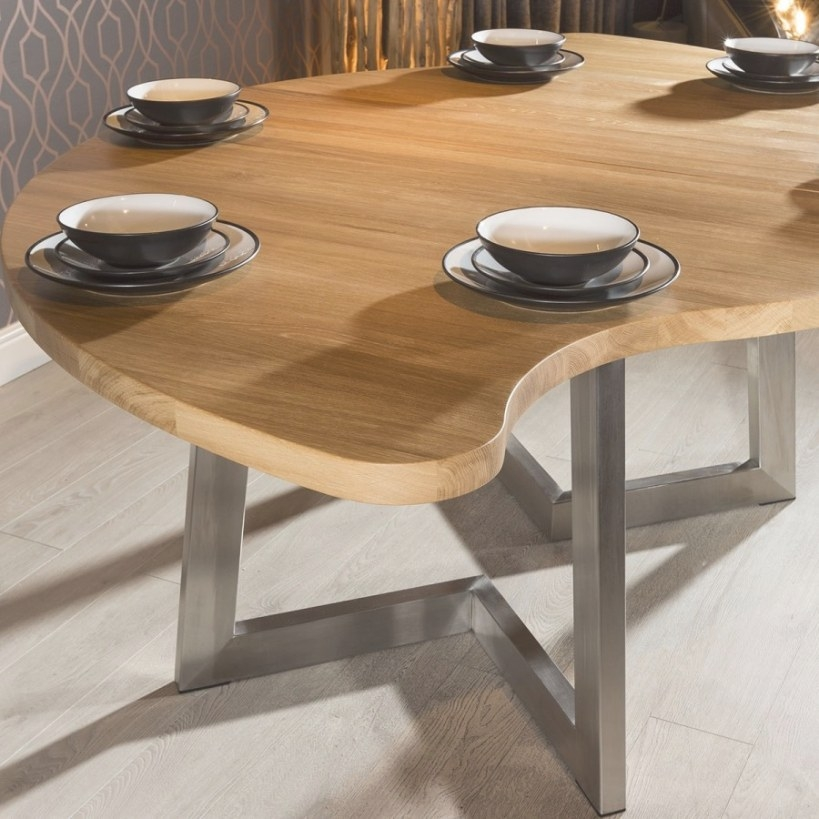 Luxury Curvy Round Dining Table Oak Wood Bespoke Colour in 8 Person Dining Table