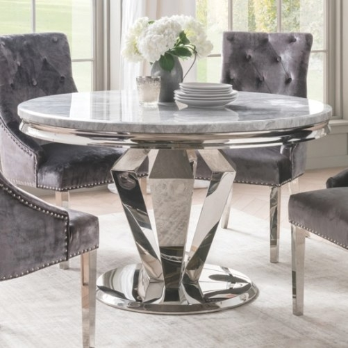 Mancinni 220Cm Pedestal Dining Table In Solid White Oak in Round Marble Dining Table