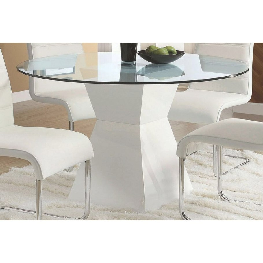 Mauna Contemporary Glass Top Round Dining Table White throughout Round Glass Dining Table