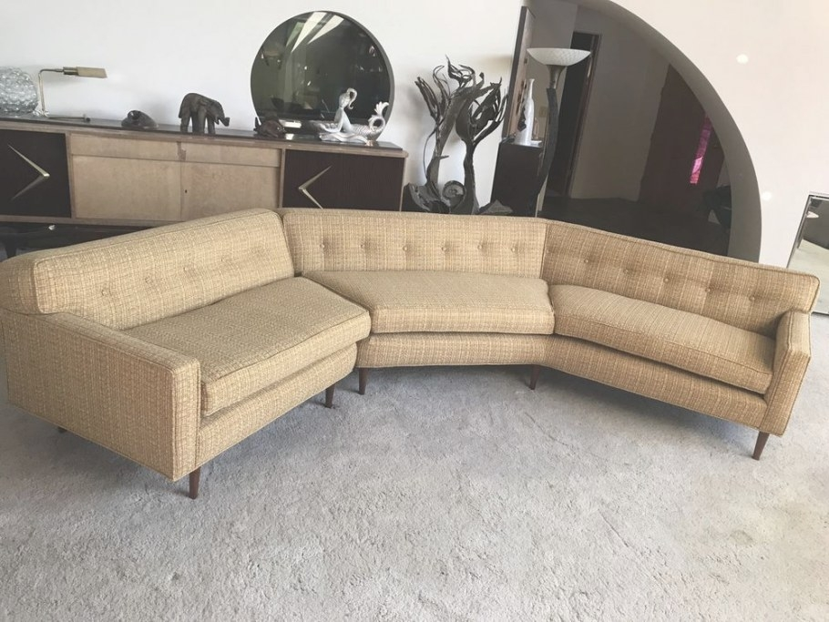 Mid Century Modern 50S Sectional Sofa Couch Restored Gold inside Small Mid Century Modern Sectional
