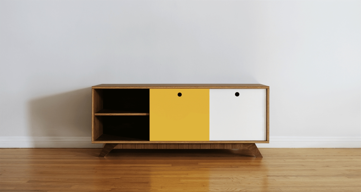 Mid Century Modern Plywood Media Console - Buildsomething for Mid Century Modern Media Console