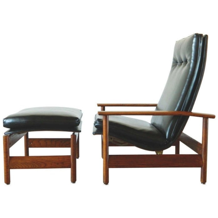 Mid Century Modern Reclining Lounger And Ottoman At 1Stdibs intended for Mid Century Modern Recliner