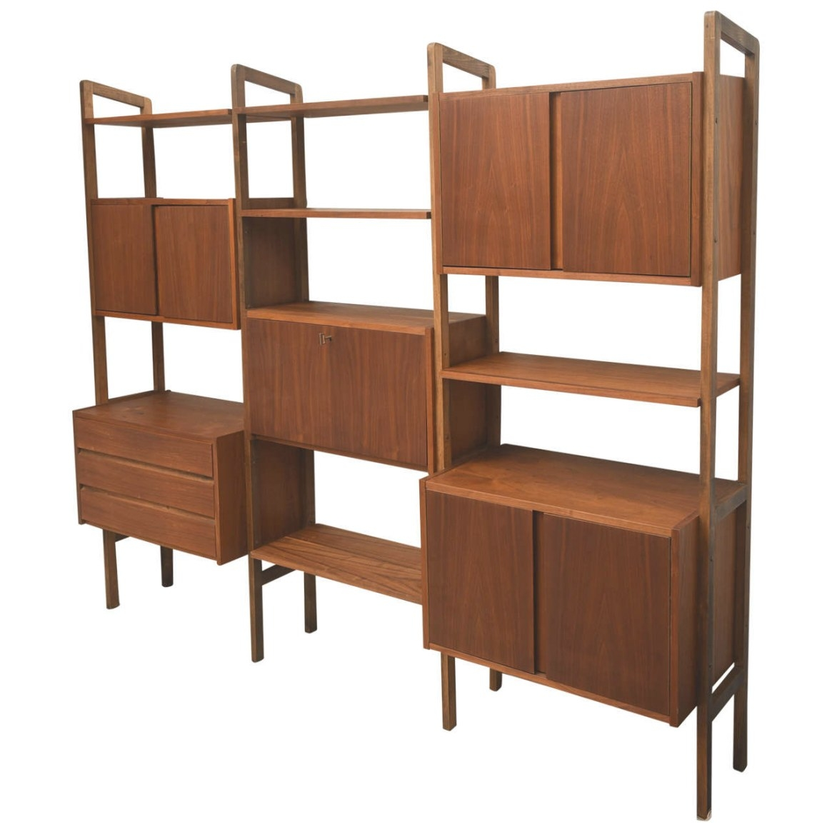 Mid-Century Modern Teak Wall Unit Or Storage, 1950S Scan intended for Mid Century Modern Recliner