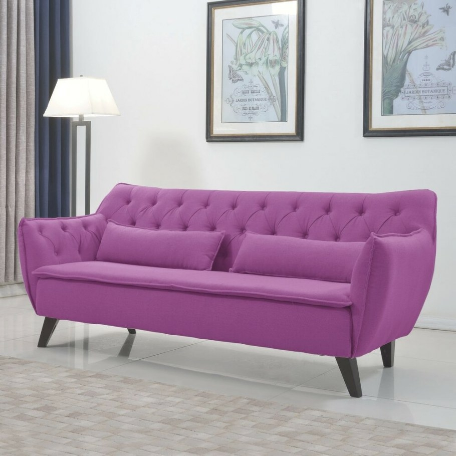 Mid Century Purple Modern Sofa Linen Fabric Tufted Button in Small Mid Century Modern Sectional