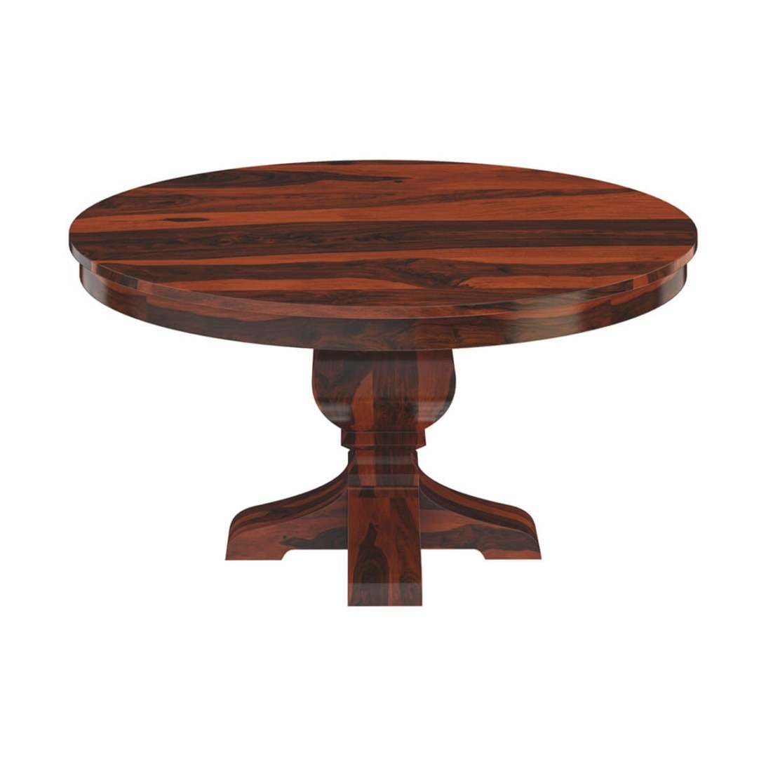 "Missouri 60"" Solid Wood Round Pedestal Dining Table pertaining to Round Wood Dining Table"