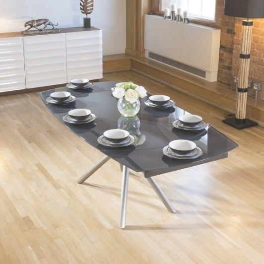 Modern 1.4-2X1M Extending Table Grey Glass Dining Table within 8 Person Dining Table