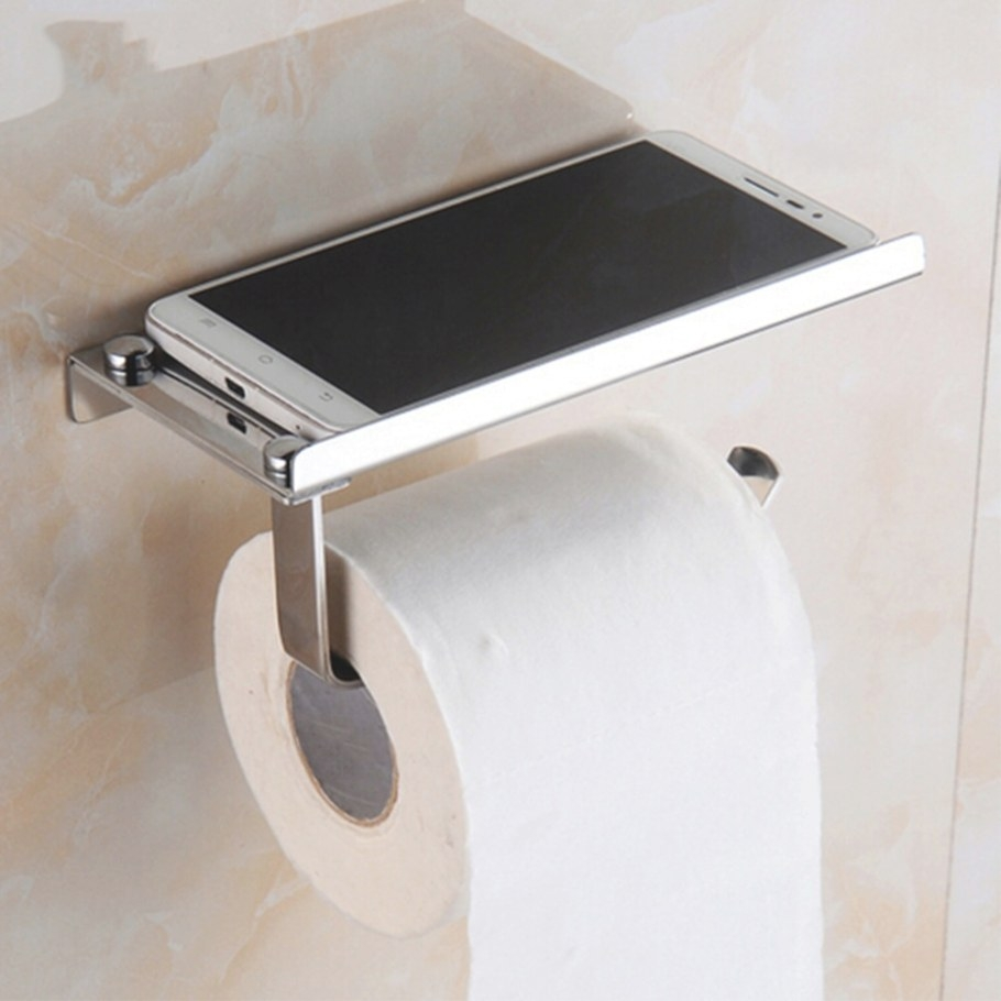 Modern Design Wall Mounted Stainless Steel Bathroom Toilet intended for Toilet Paper Holder With Shelf