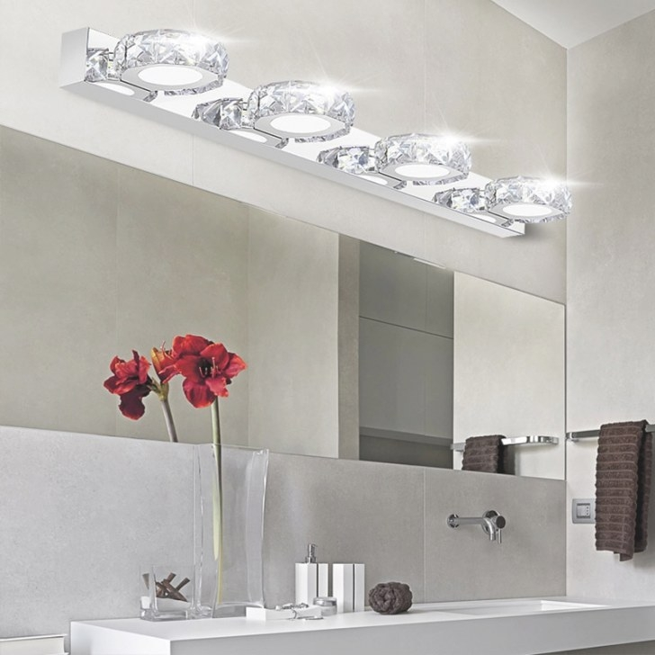Modern K9 Led Bathroom Make Up Crystal Mirror Light Round within Modern Lighted Mirrors For Bathrooms