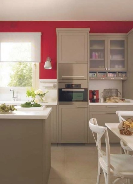Modern Kitchen Design With Bold Red Accent Walls And within Accent Walls In Kitchens