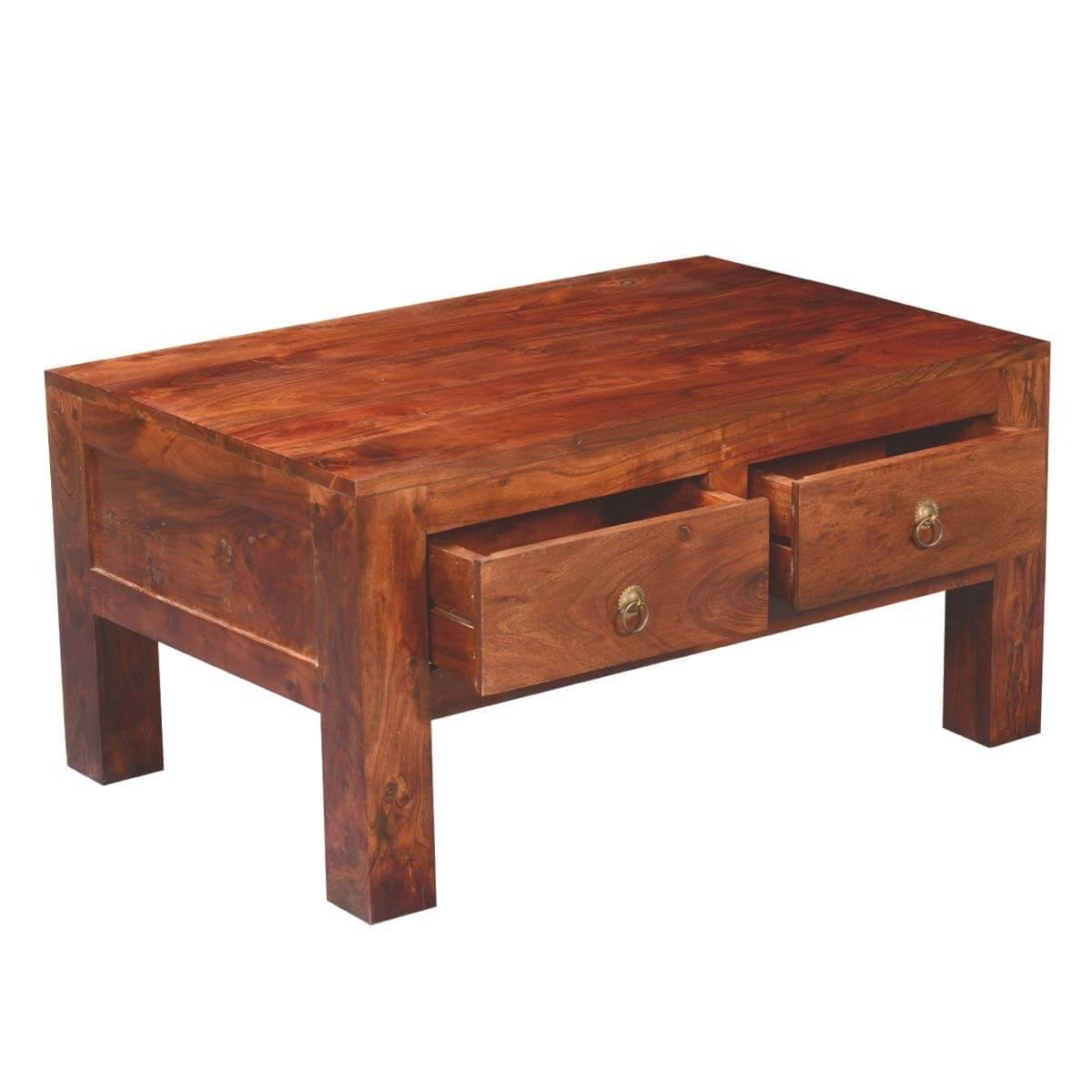 Modern Simplicity Acacia Wood 4-Drawer Chest Coffee Table intended for Coffee Table With Drawers