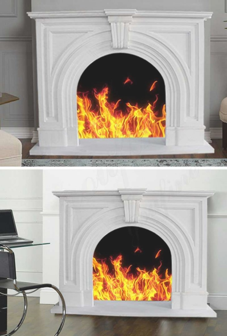 Modern White Marble Fireplace Mantel Surround For Home with Fireplace Mantels For Sale
