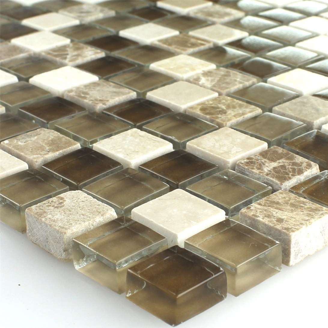 Mosaic Tiles Glass Marble Brown Beige 15X15X8Mm intended for Brown And Beige Pinwheel Mosaic Tile Bathroom