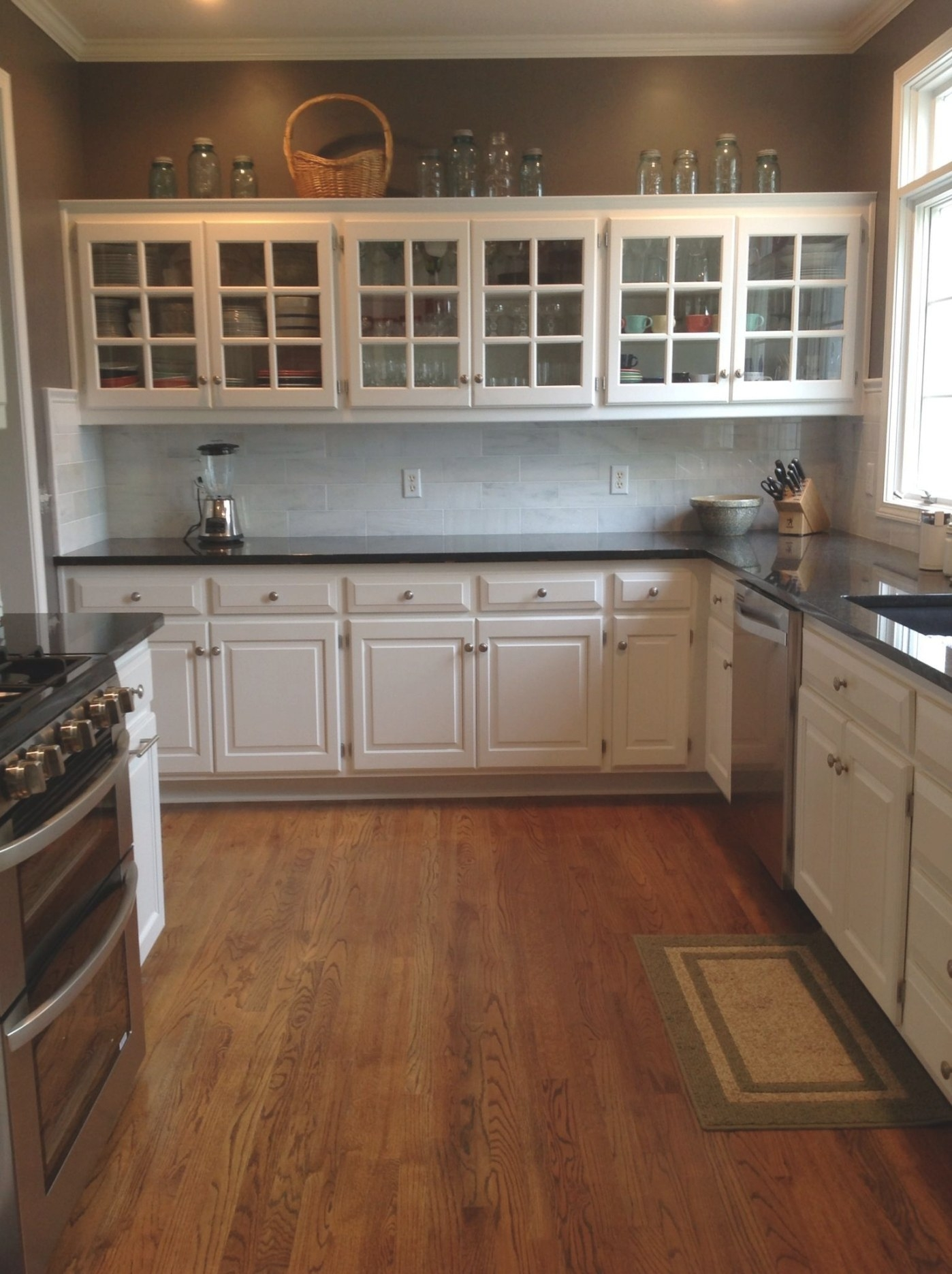 My Kitchen After. Kept The White Cabinets. Added Black throughout White And Stainless Steel Kitchen