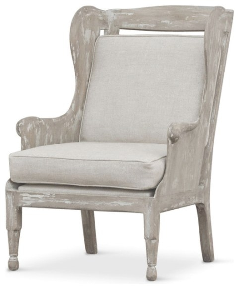 Normandy Coastal Solid Carved Wood White Wash Grey Wing pertaining to Armchairs And Accent Chairs