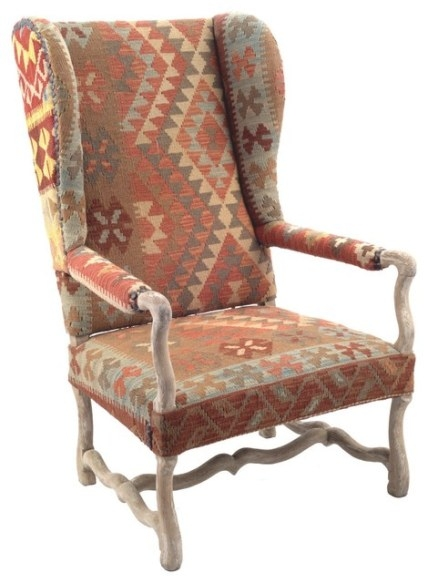 Nuloom Southwestern Aztec Navajo Dhurrie Kilim High Back with regard to Armchairs And Accent Chairs
