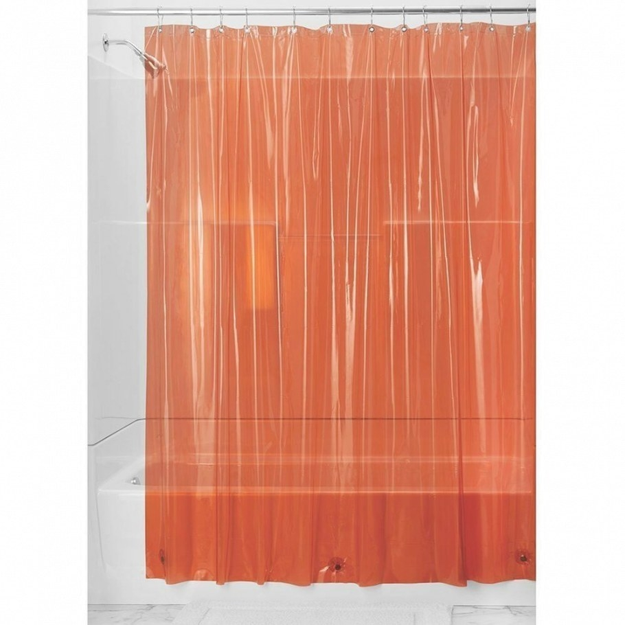 Orange Heavy Shower Curtain Liner Extra Long Mildew pertaining to 84 Inch Shower Curtain