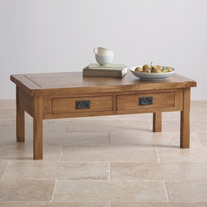 Original Rustic 4 Drawer Coffee Table In Solid Oak throughout Coffee Table With Drawers