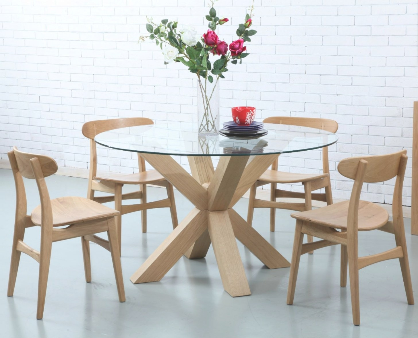 Oscar Round Dining Table - Glass Solid Oak - 130Cm inside Round Glass Dining Table