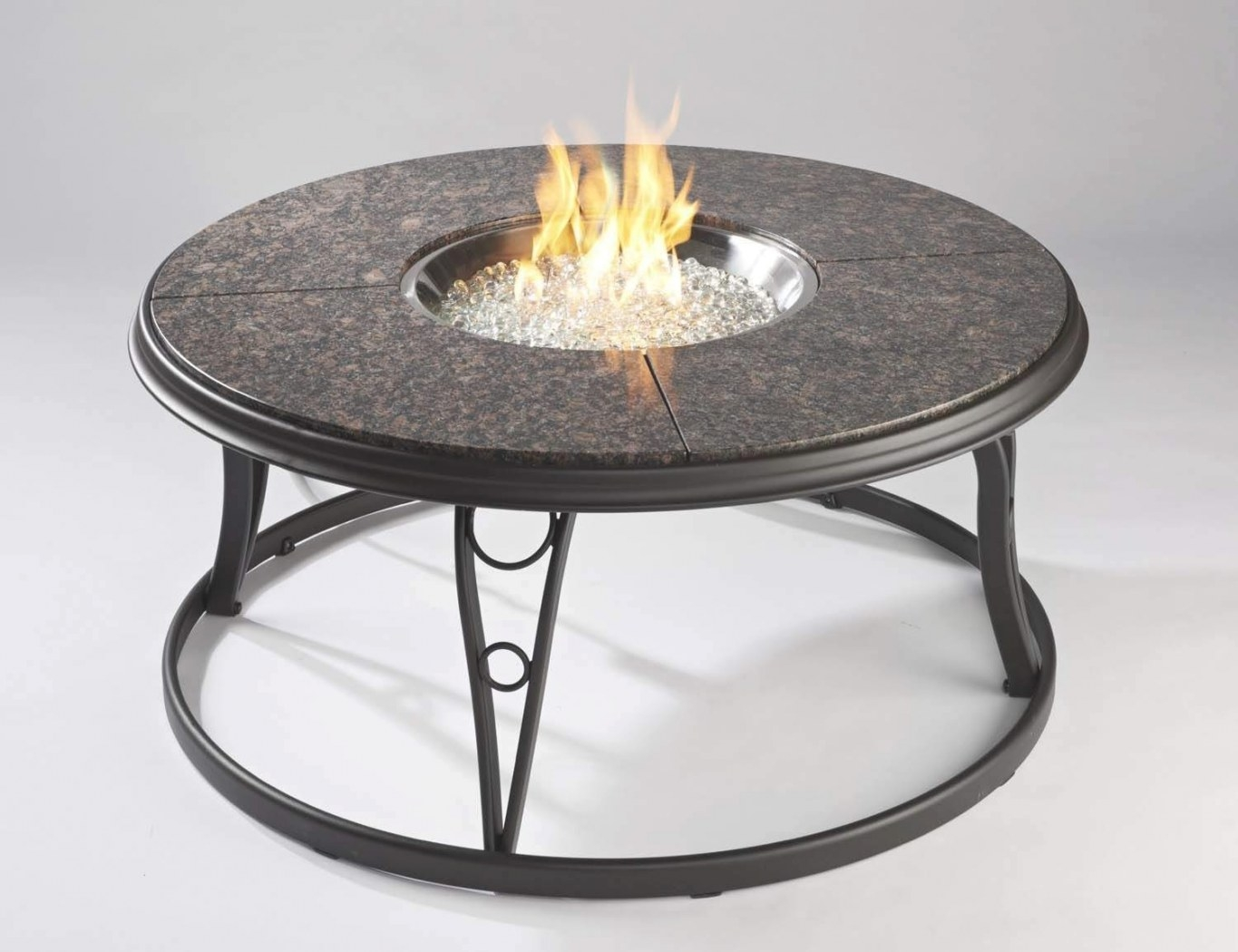 Outdoor Greatroom Granite 42 Inch Round Gas Fire Pit Table intended for Propane Fire Pit Table