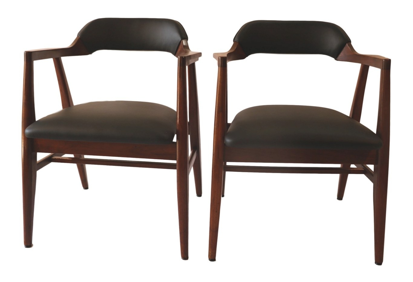 Pair Mid Century Modern Leather Side Chairs pertaining to Mid Century Modern Recliner