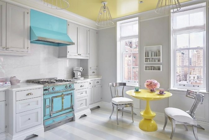 Pale Blue Kitchen With Vaulted Shiplap Kitchen Ceiling for Yellow And Turquoise Kitchen