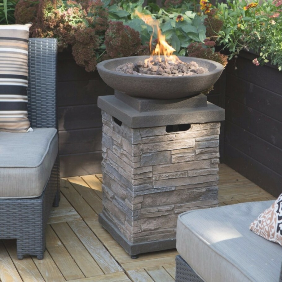 Patio Deck Fire Pit Bowl Table Propane Backyard Outdoor inside Propane Fire Pit Table
