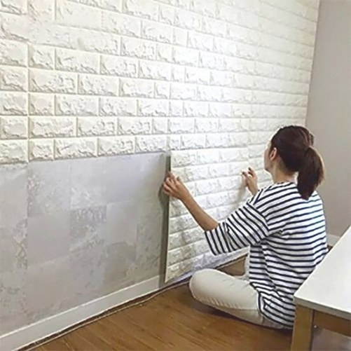 Peel And Stick 3D Wall Panels Wall Decor, White Brick in Peel And Stick Wall Panels