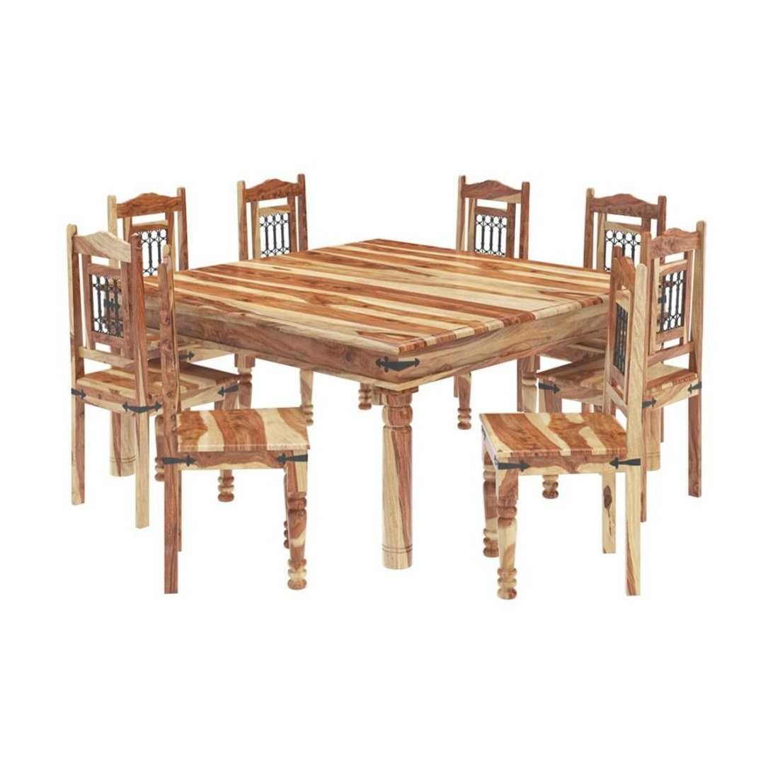 Peoria Solid Wood Large Square Dining Table & Chair Set pertaining to 8 Person Dining Table