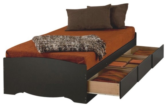 Prepac Black Twin Xl Mate'S Platform Storage Bed With 3 intended for Twin Xl Platform Bed