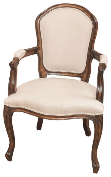Queen Ann Oak Wood Beige Fabric Armchair - Traditional pertaining to Armchairs And Accent Chairs