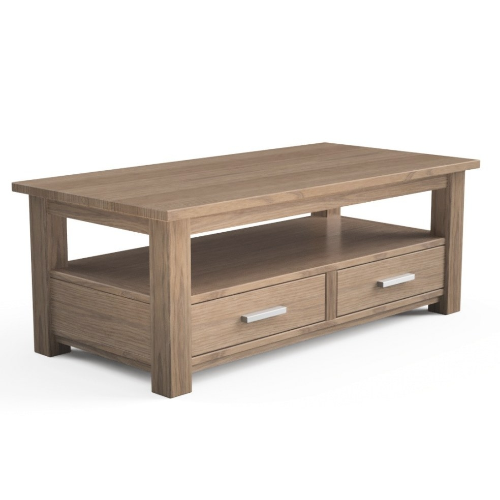 Quercus Solid Oak Coffee Table With Drawers - Con-Tempo pertaining to Coffee Table With Drawers