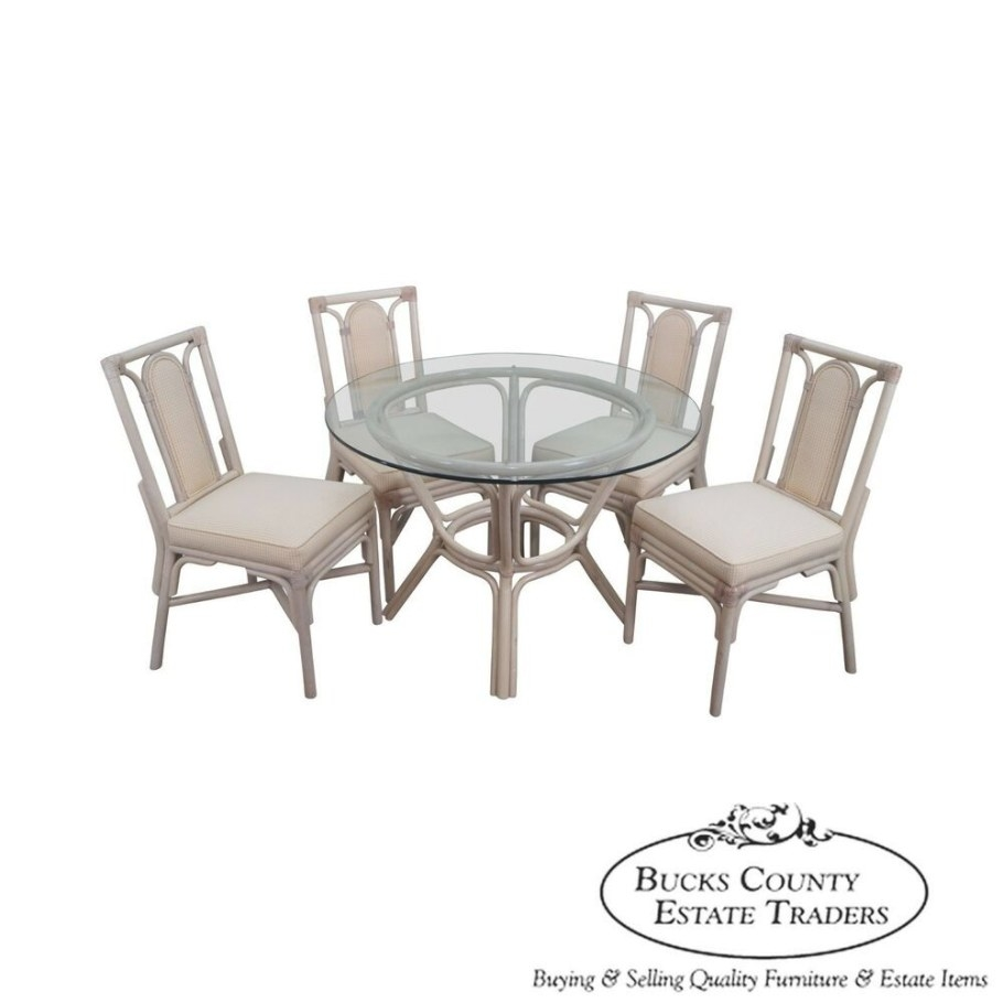 Rattan Bamboo Round Glass Top Dining Table & 4 Chair Set pertaining to Round Glass Dining Table