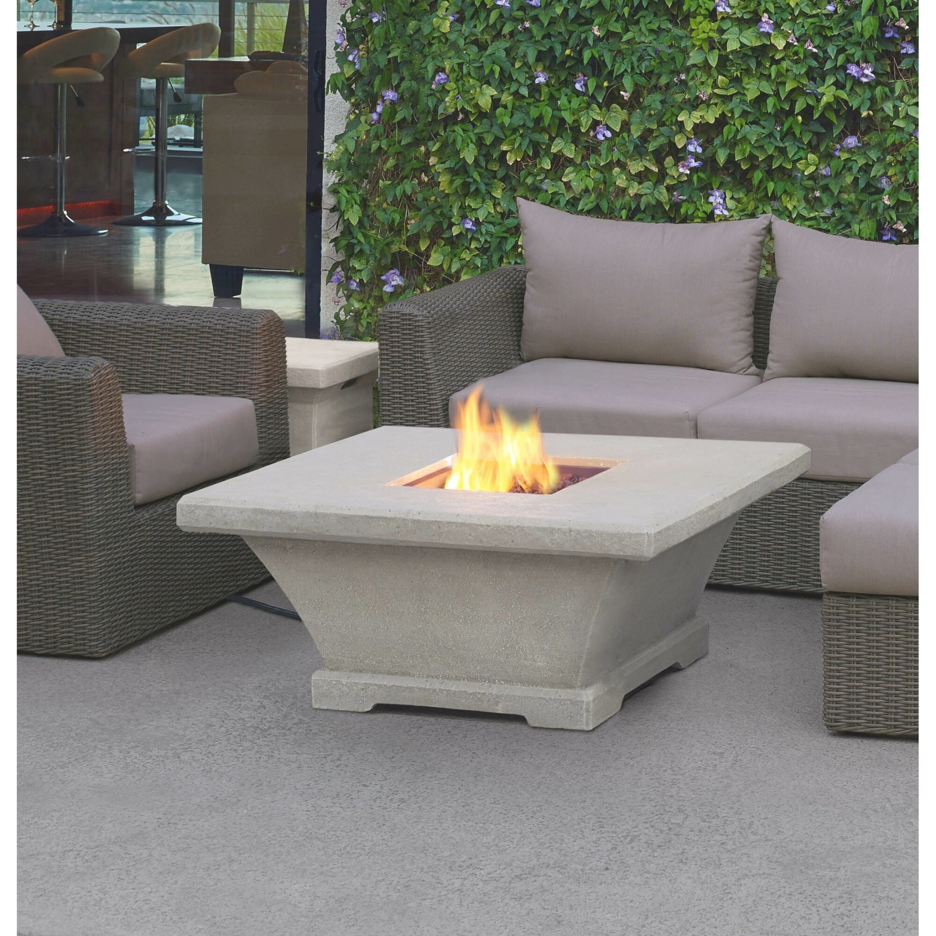 Real Flame Monaco Square Low Profile Propane Fire Pit pertaining to Propane Fire Pit Table