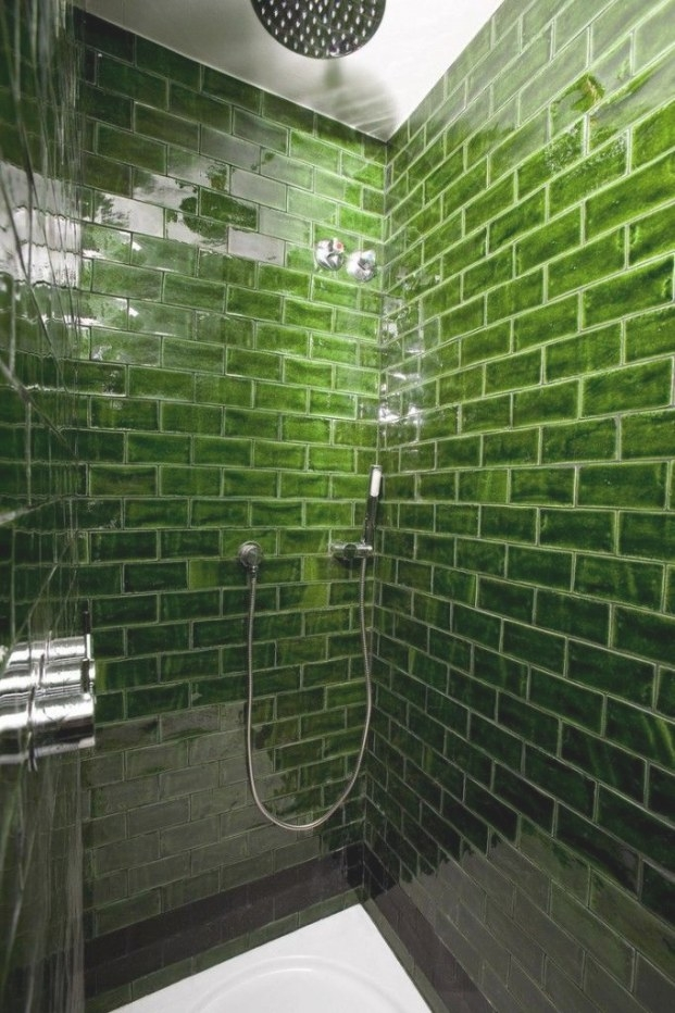 Rich Green Glass Subway Tile In The Shower | Decorations pertaining to Glass Subway Tile Bathroom