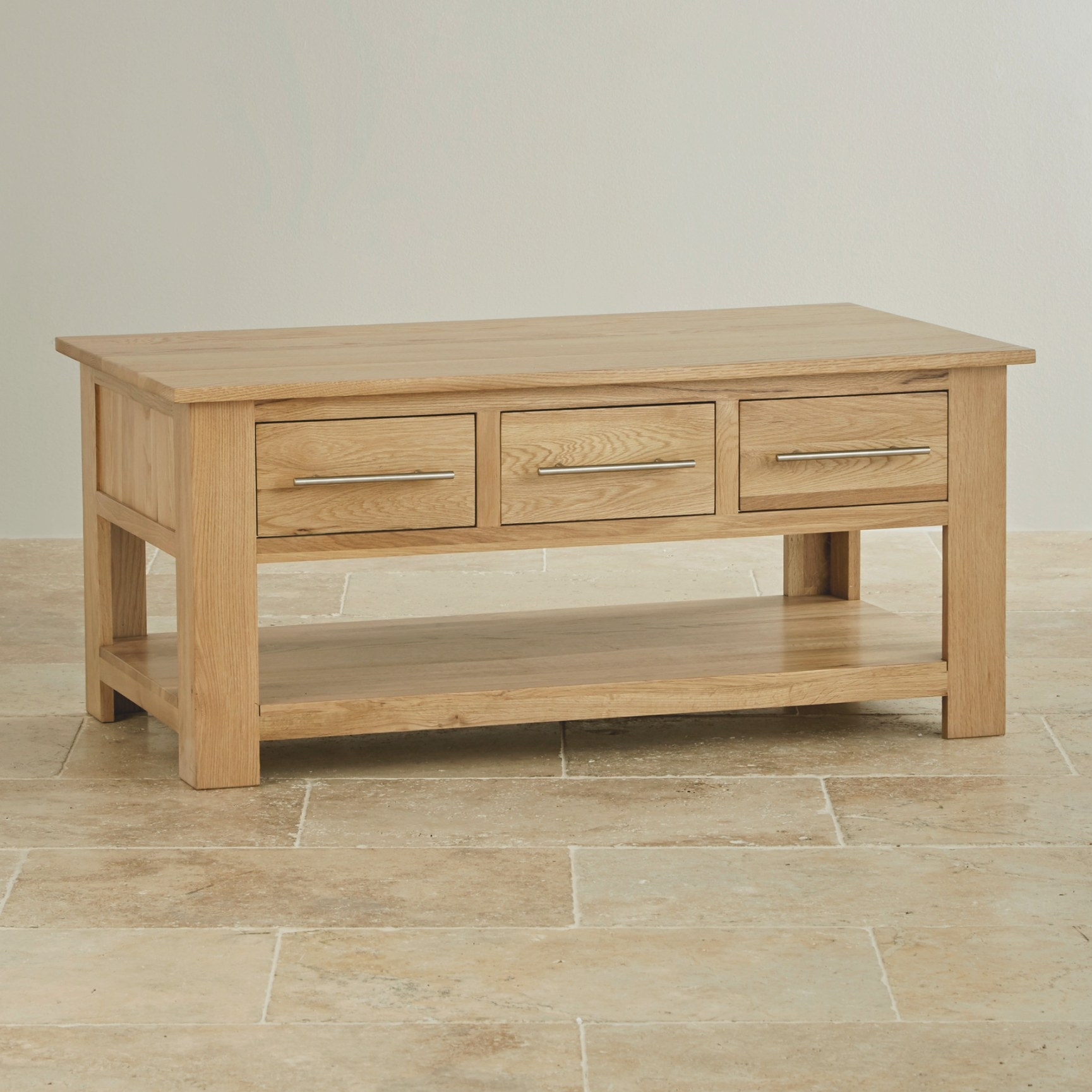 Rivermead 6 Drawer Coffee Table In Natural Solid Oak pertaining to Coffee Table With Drawers