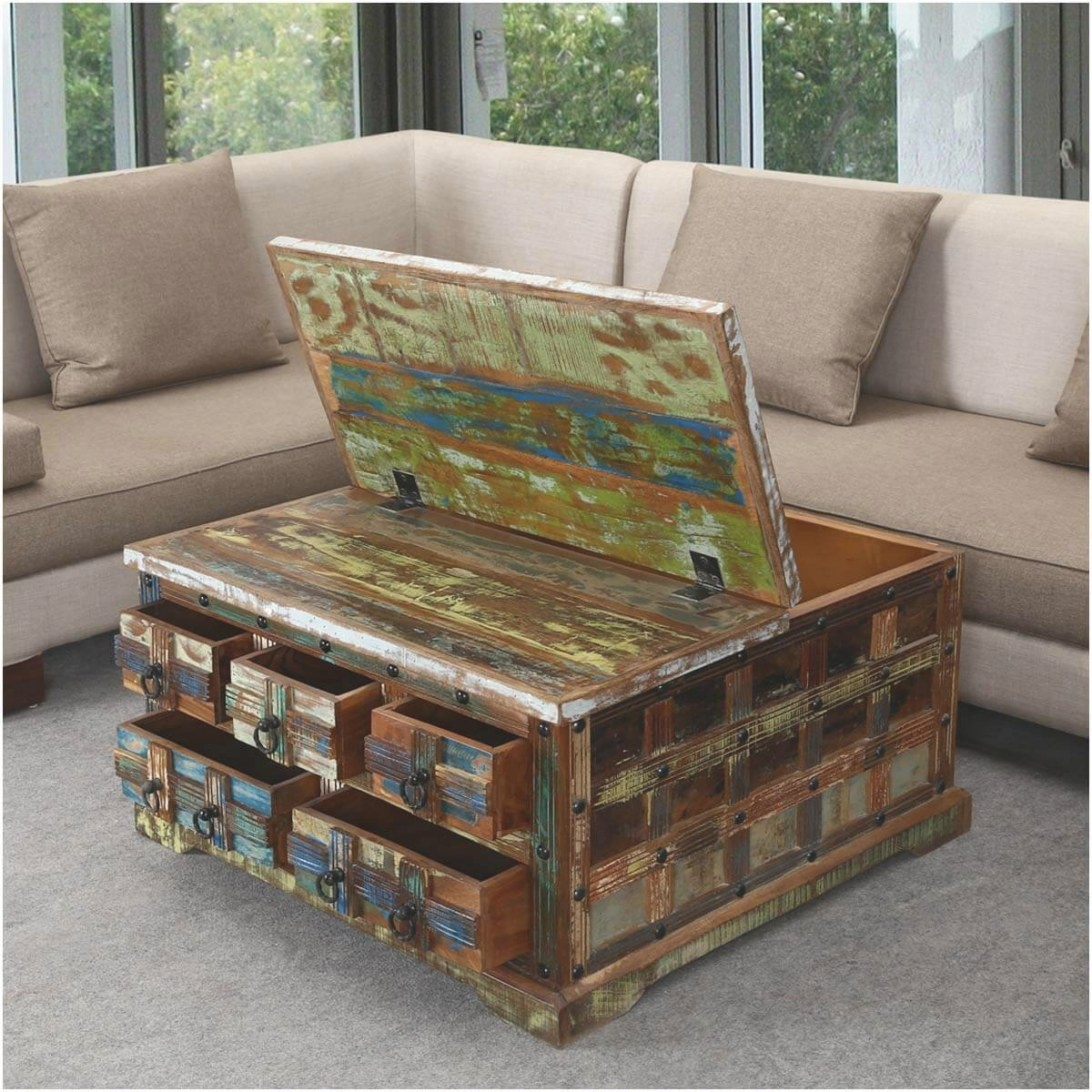 """Rustic Reclaimed Wood 36"""" Square 5 Drawer Coffee Table Chest throughout Coffee Table With Drawers"""