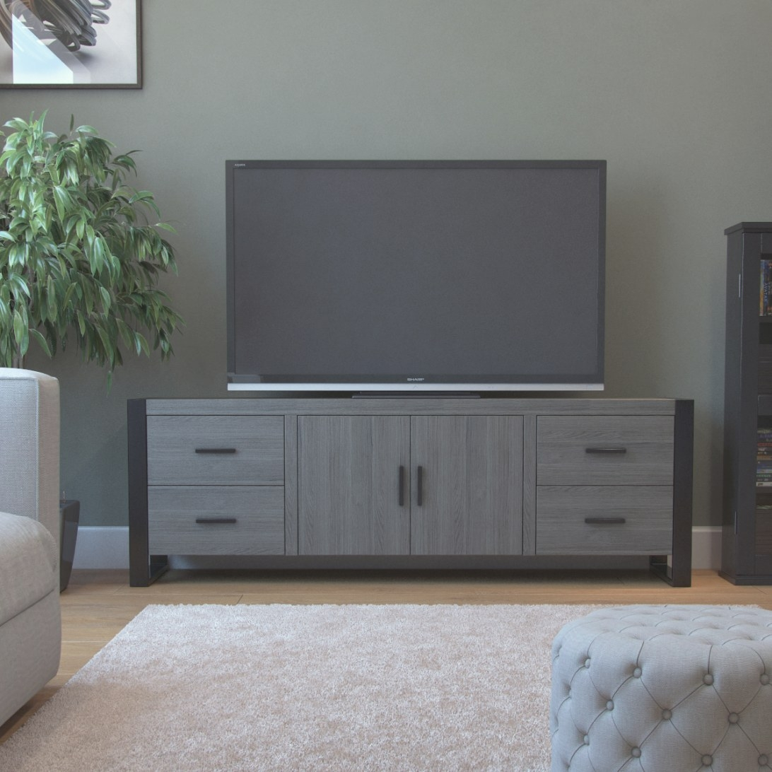 Ryan Rove Dexter 70 Inch Tv Stand In Ash Grey And Black throughout 70 Inch Tv Stand