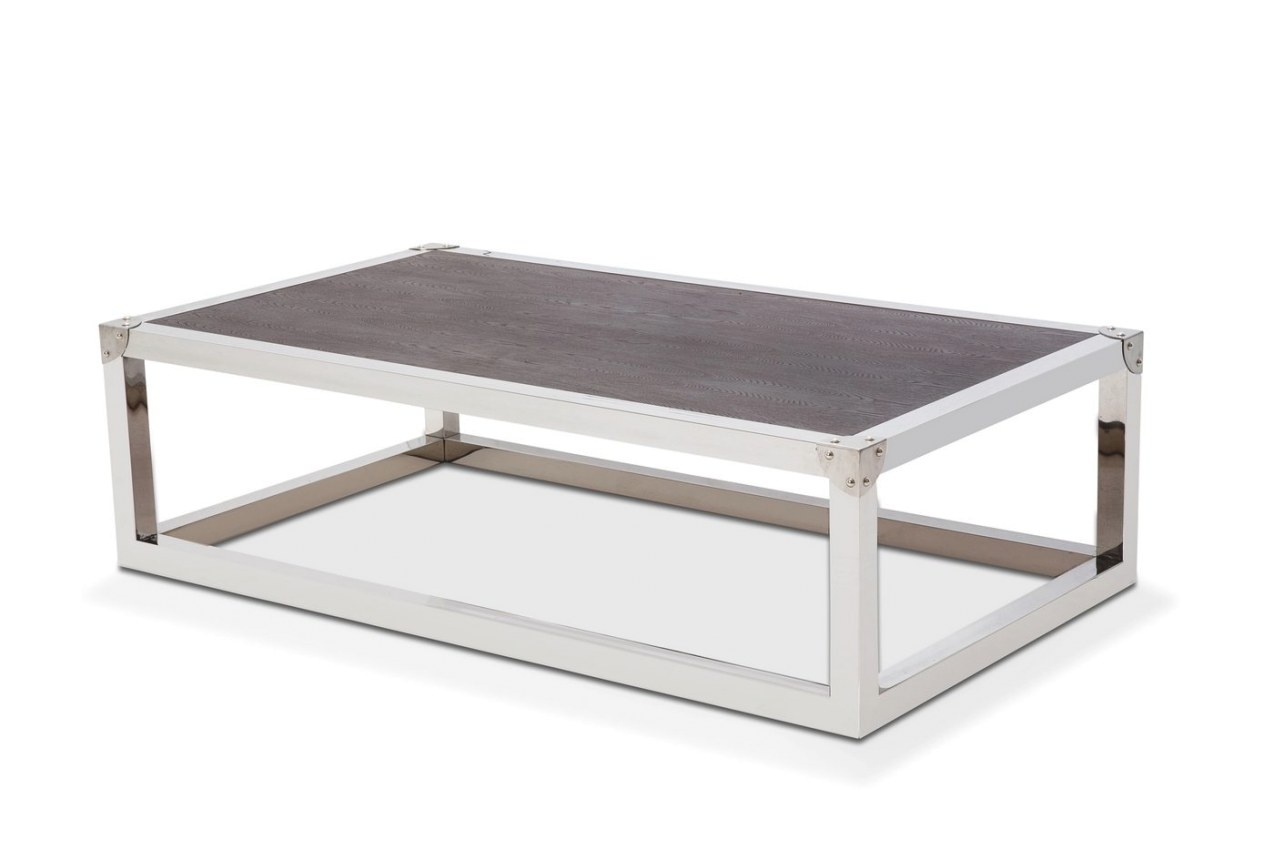 Salvatore Stainless Steel Coffee Table With Wood Top In in Stainless Steel Table Top