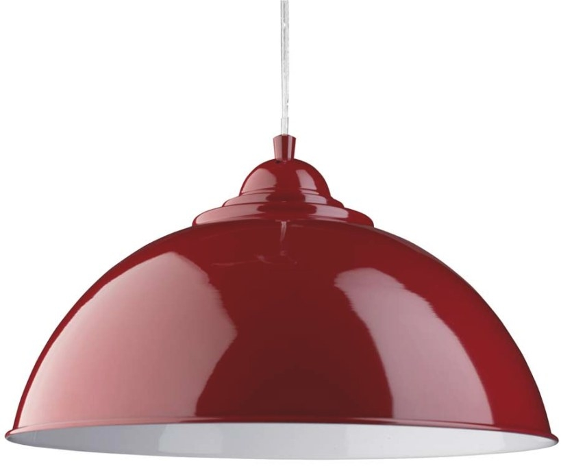 Sanford Retro Domed Gloss Red Metal Kitchen Pendant Light pertaining to Red Pendant Lights For Kitchen