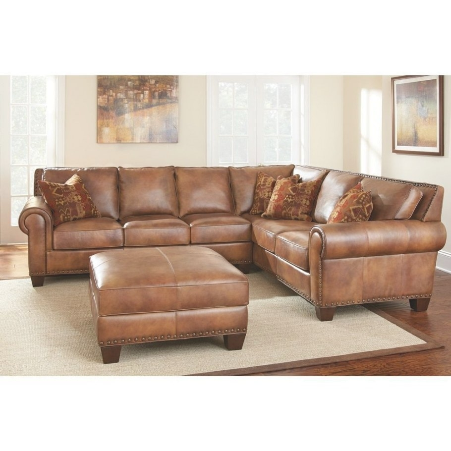 Sanremo Top Grain Leather Sectional Sofa And Ottoman Set intended for Top Grain Leather Sectional