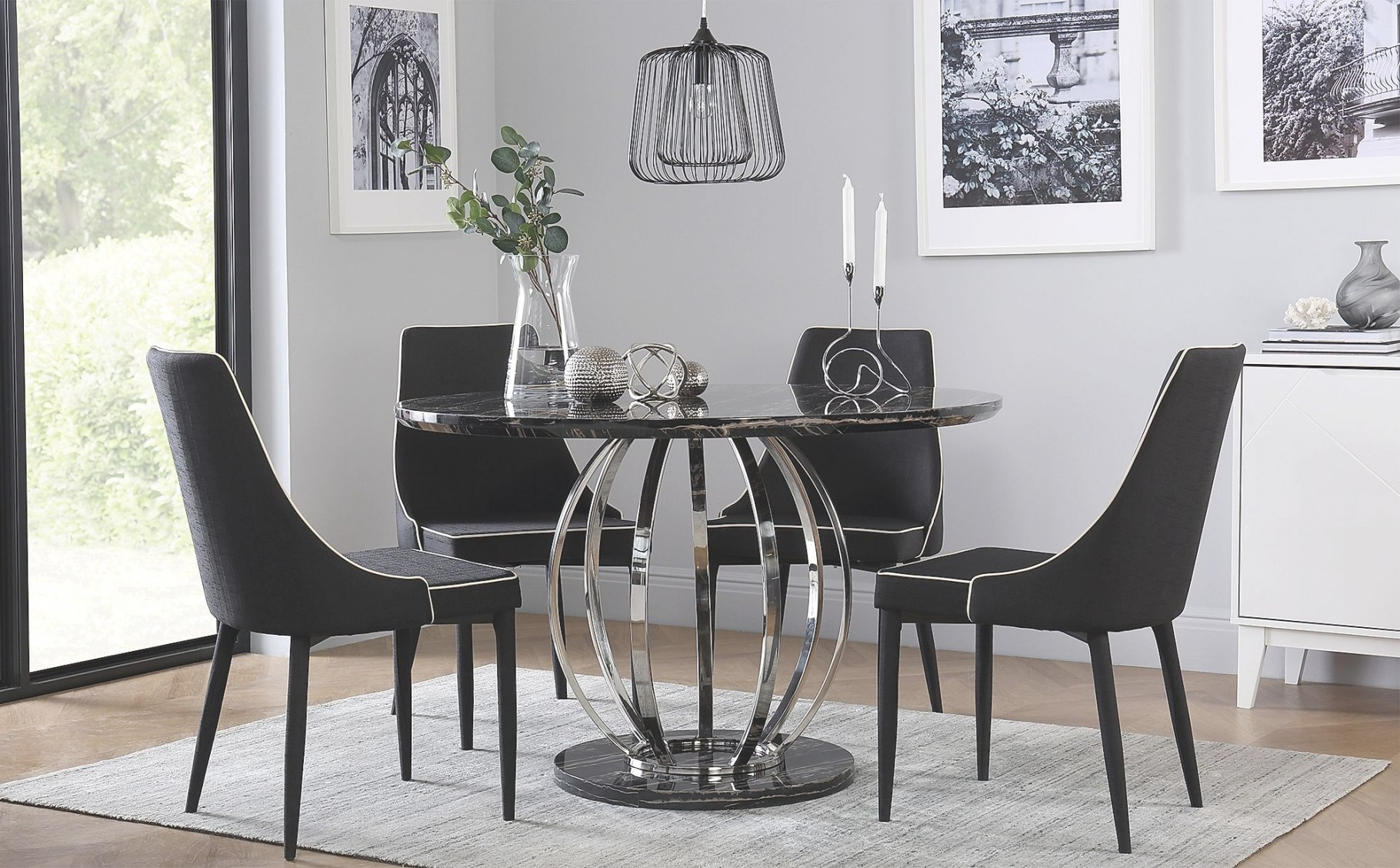 Savoy Round Black Marble And Chrome Dining Table With 4 pertaining to Round Marble Dining Table