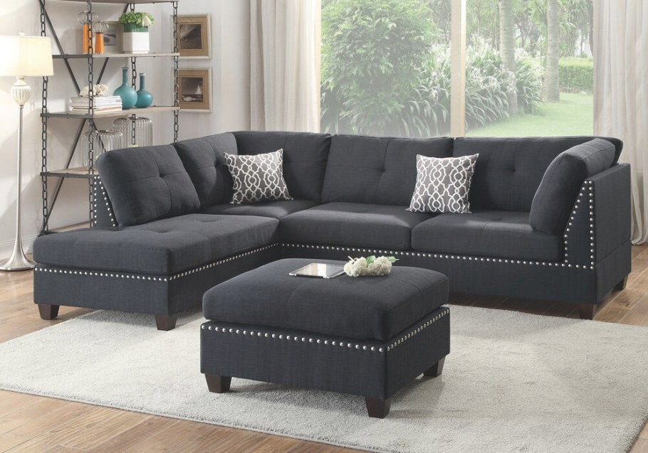 Sectional Sofa Corner Couch Reversible Chaise Nailhead intended for What Is A Settee