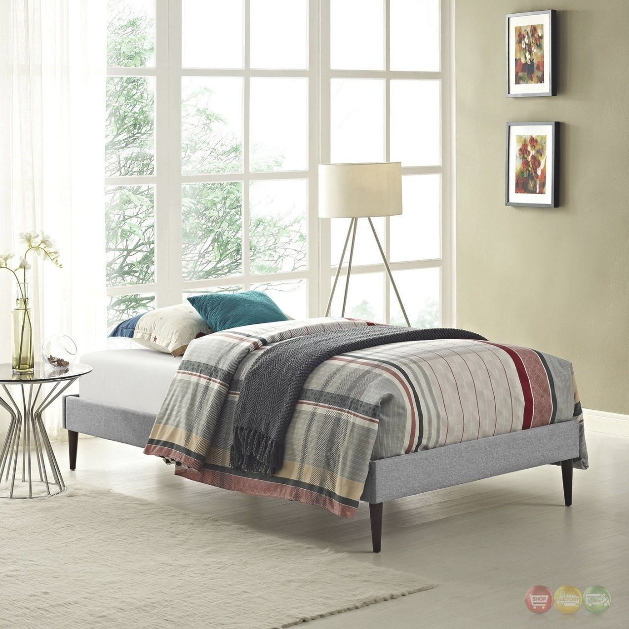 Sherry Upholstered Fabric Twin Platform Bed Frame, Light Gray throughout Twin Platform Bed Frame