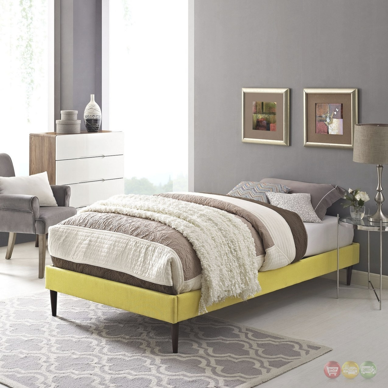 Sherry Upholstered Fabric Twin Platform Bed Frame, Sunny for Twin Platform Bed Frame