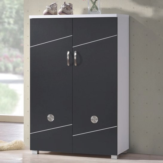 Shop Baxton Studio Rudd Contemporary Black White Shoe in Shoe Cabinet With Doors