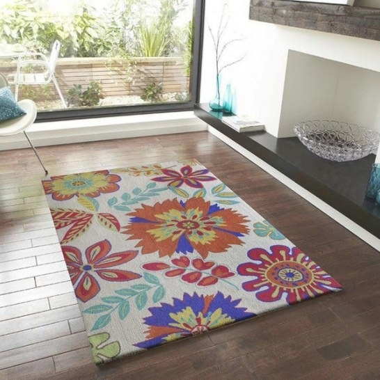 Shop Bright Floral Outdoor Rug - 5' X 7' - Free Shipping pertaining to 5 X 7 Rugs