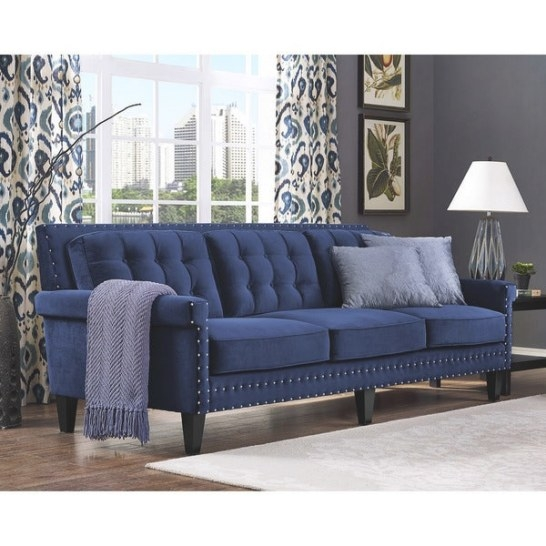Shop Jonathan Navy Velvet Sofa - Free Shipping Today intended for What Is A Settee
